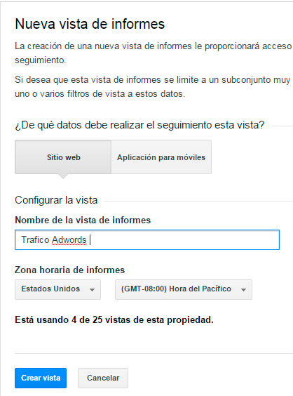crera vista adwords analytics