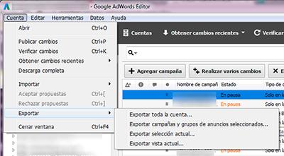 exportar editor adwords