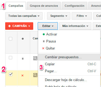 copiar campanas adwords