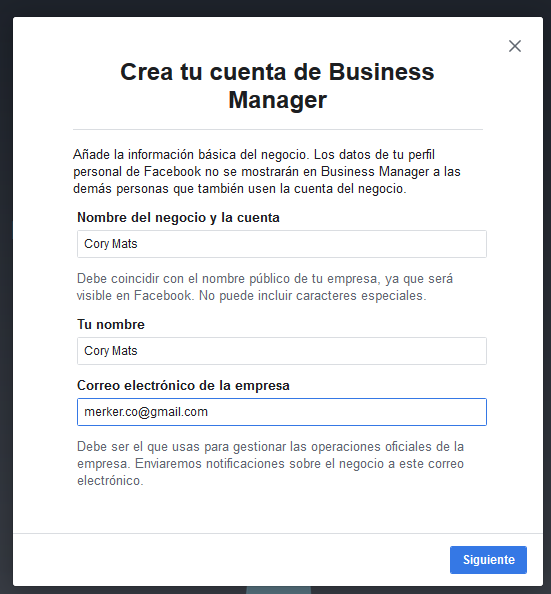 crear cuenta business manager