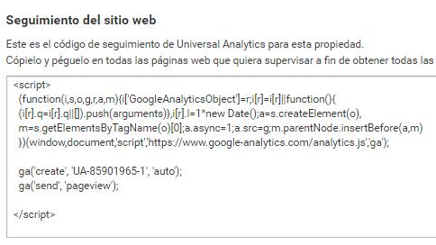 instalar id seguimiento analytics