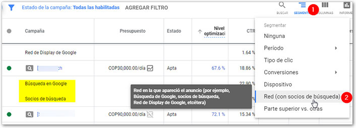 red socios google ads