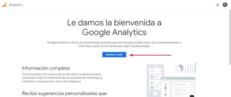 bienvenida google analytics