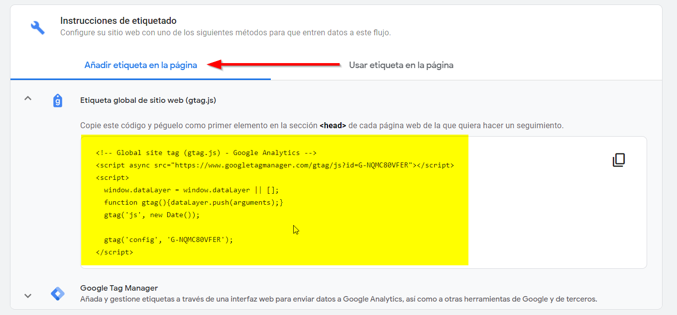 instalar manual google analytics