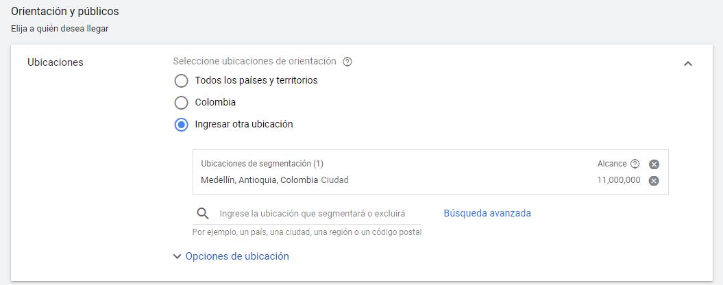 ubicaciones geograficas google ads